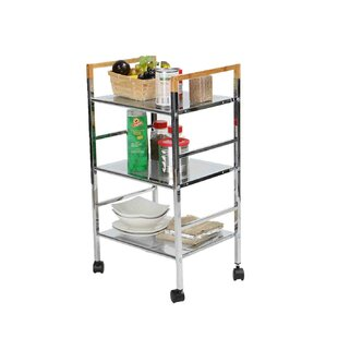 3 Tier Mobile Metal Top Kitchen Cart Mind Reader