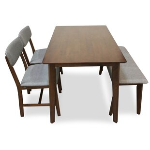 Aaru 4 Piece Solid Wood Dining Set Union Rustic