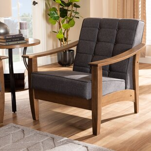 Pliner Mid-Century Fabric Upholstered Wood Lounge Chair