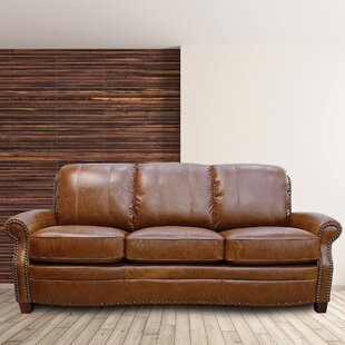 Halliburton Leather Sofa by Alcott Hill