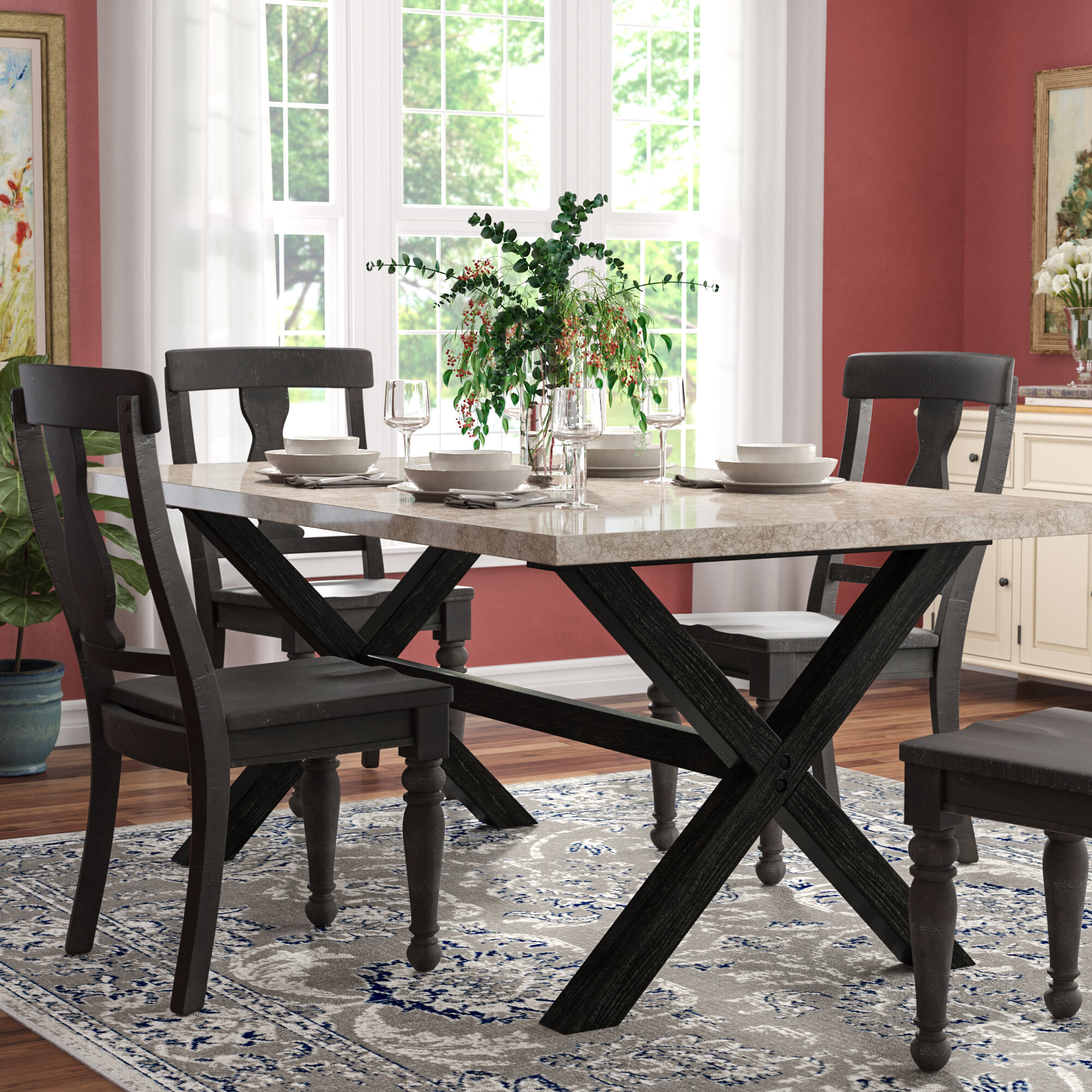Red barrel studio coleville solid marble dining table reviews wayfair
