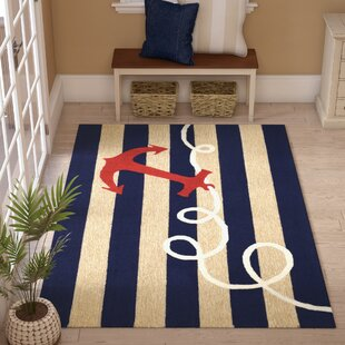 Berau Anchor Hand-Tufted Navy Blue Indoor/Outdoor Area Rug