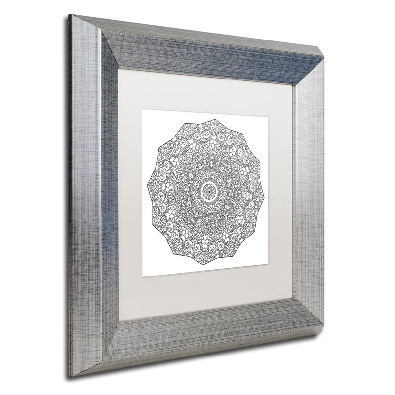 Trademark Art The Sigh Mandala Line Art Framed Graphic Art On Canvas Wayfair