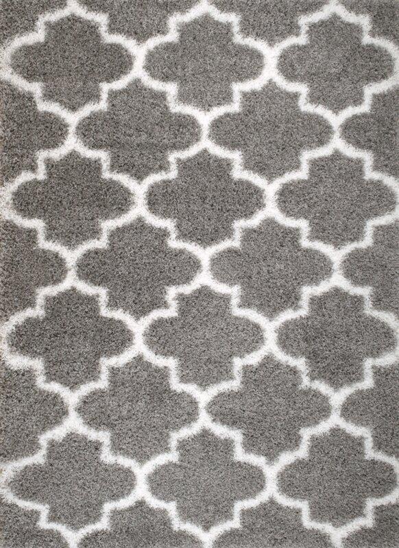 rug and decor inc. supreme shag royal trellis gray/white area rug