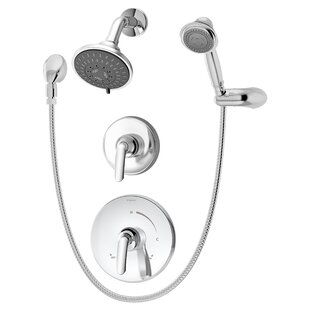 Symmons Elm Shower Trim Only Package with Multi Function Shower Head and Hand Shower and Double Lever Handle - Less Rough In Valve