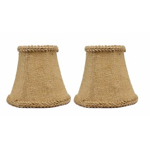 5 Burlap Bell Clip-on Candelabra Shade with Trim (Set of 2)