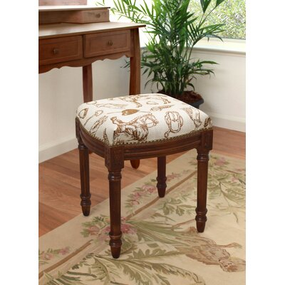 123 Creations Equestrian Linen Upholstered Vanity Stool