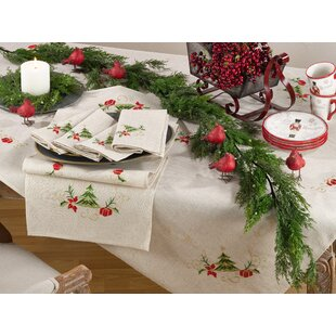 Embroidered Christmas Tree Design Holiday Linen Blend Tablecloth