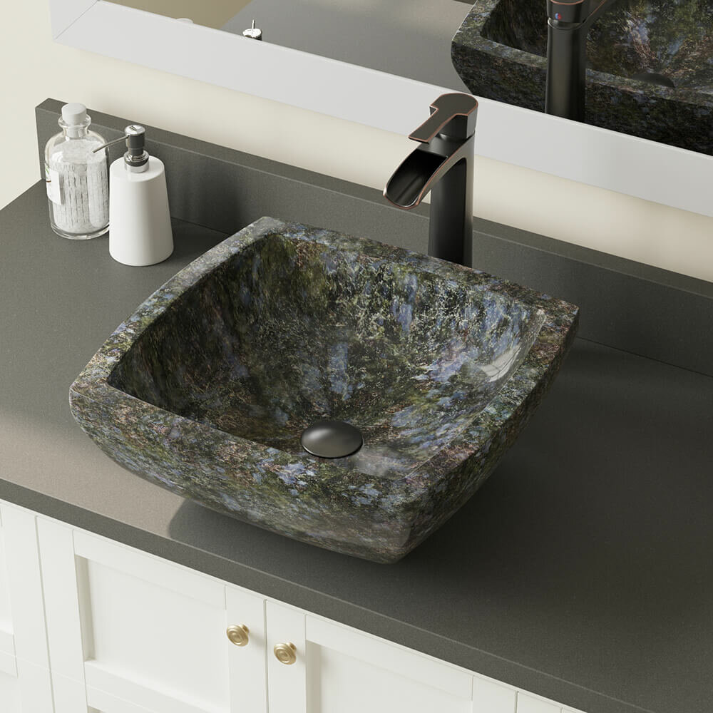 Mrdirect Butterfly Stone Square Vessel Bathroom Sink With Faucet Wayfair