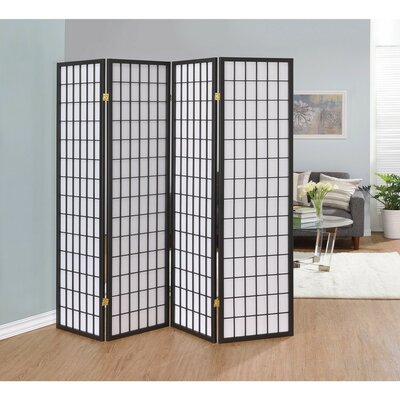 Ebern Designs Miconi 4 Panel Room Divider Color: Gray