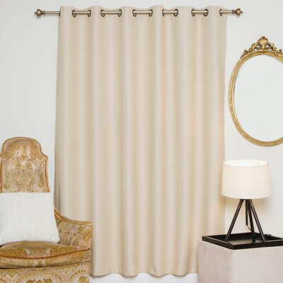 "Solid Blackout Thermal Grommet Single Curtain Panel Blackout Curtain Size per Panel: 100"" W x 96"" L, Color: Beige"