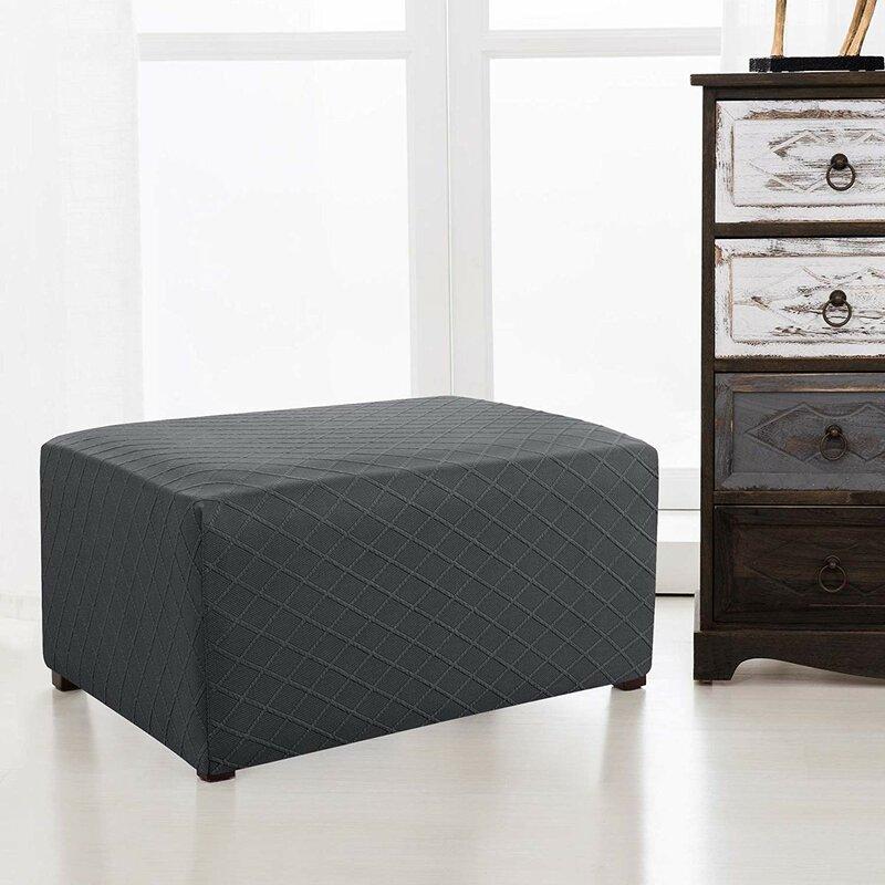 Rhombus Oversized Box Cushion Ottoman Slipcover