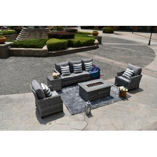 Cribb 5-Piece With Gas Fire Pit Coffee Table Rattan Sofa Seating Group with Cushions
