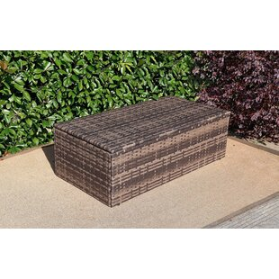 Shop For Outdoor Furniture Glass Rattan Rectangle Coffee Table with Storage Compartment By Baner Garden