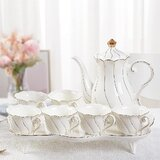 14 Pcs Tea Set Of 6 With Tea Tray & Spoons, Luxury British Style Tea/Coffee Cup Set With Golden Trim, Beautiful Look Porcelain Tea Set For Living Room Decor, Tea Party Set, Gift Package - White