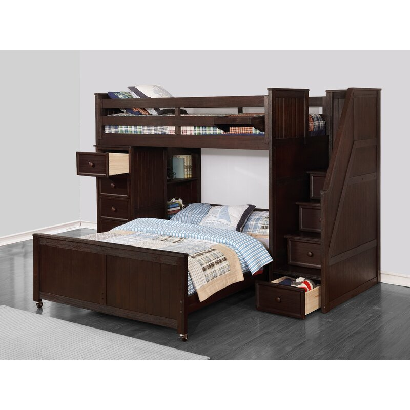 Raub Twin Over Full L Shaped Bunk Bed With Bookcase