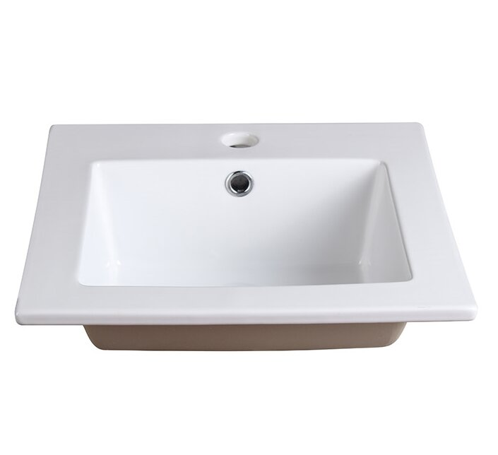 Fresca Allier Ceramic Square Drop In Bathroom Sink with Overflow
