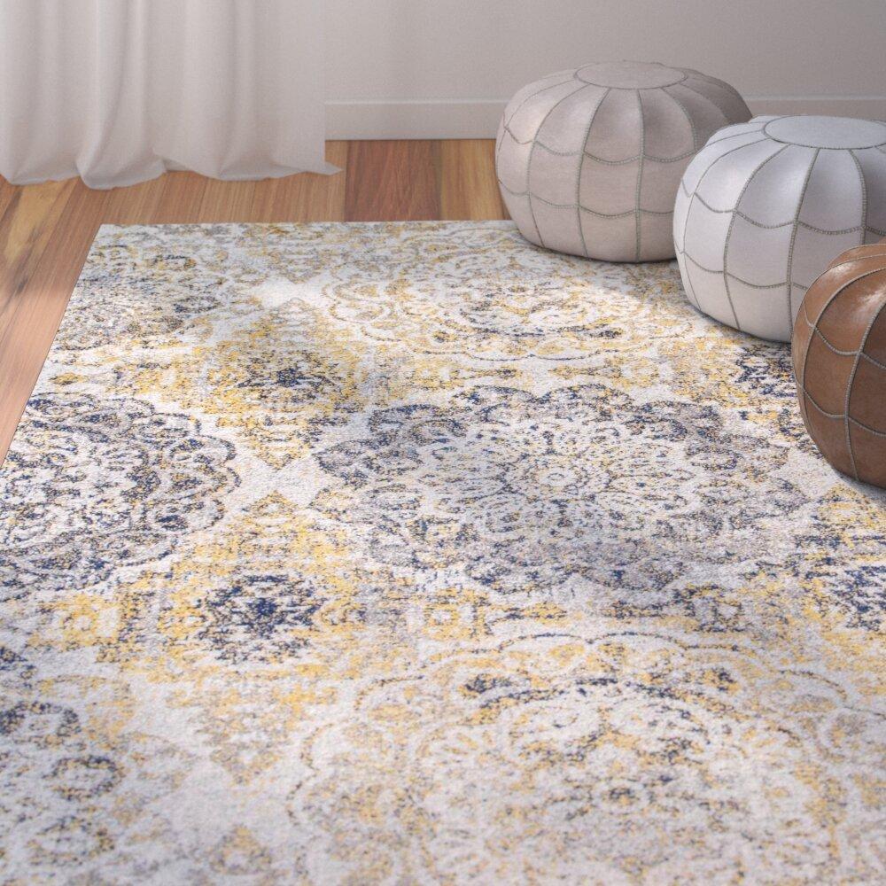 Best Kelvin For Living Room: Bungalow Rose Kelvin Gold/Navy Blue/Gray/White Area Rug