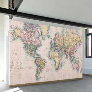 Wall murals youll love wayfair vintage map 116 x 96 sciox Images