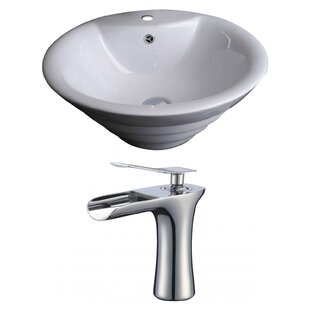 Ceramic Circular Vessel Bathroom Sink with Faucet and Overflow by American Imaginations