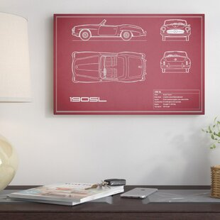 'Mercedes-Benz 190 SL Roadster' Graphic Art Print on Canvas in Maroon By East Urban Home