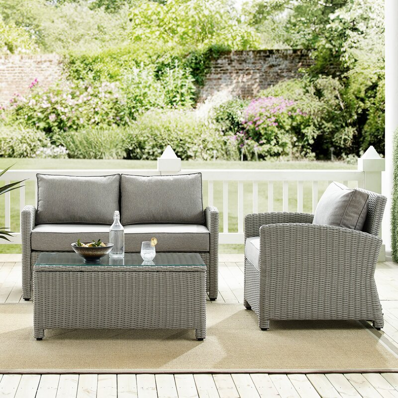 Lawson 3 Piece Rattan Sofa Seating Group with Cushions