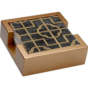 5 Piece Shell Ebony Collegiate Coasters Gift Set