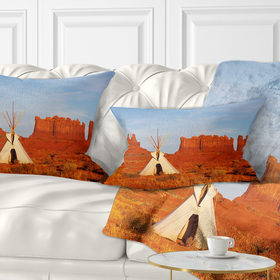 East Urban Home Landscape Printed Tent In Monument Valley Lumbar Pillow Wayfair