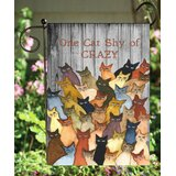 Hanniford One Cat Shy of Crazy 2-Sided Polyester 18 x 12 in. Garden Flag