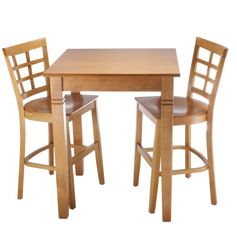 August Grove Harner 3 Piece Pub Table Set  Color: Cherry
