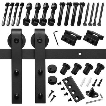 Flat Track By Leatherneck Hardware 402 Straight Premium Single Track Barn Door Hardware Kit Wayfair