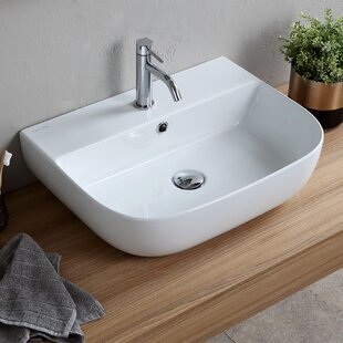 Scarabeo by Nameeks Ceramic Wall Mounted or Vessel Bathroom Sink with Overflow