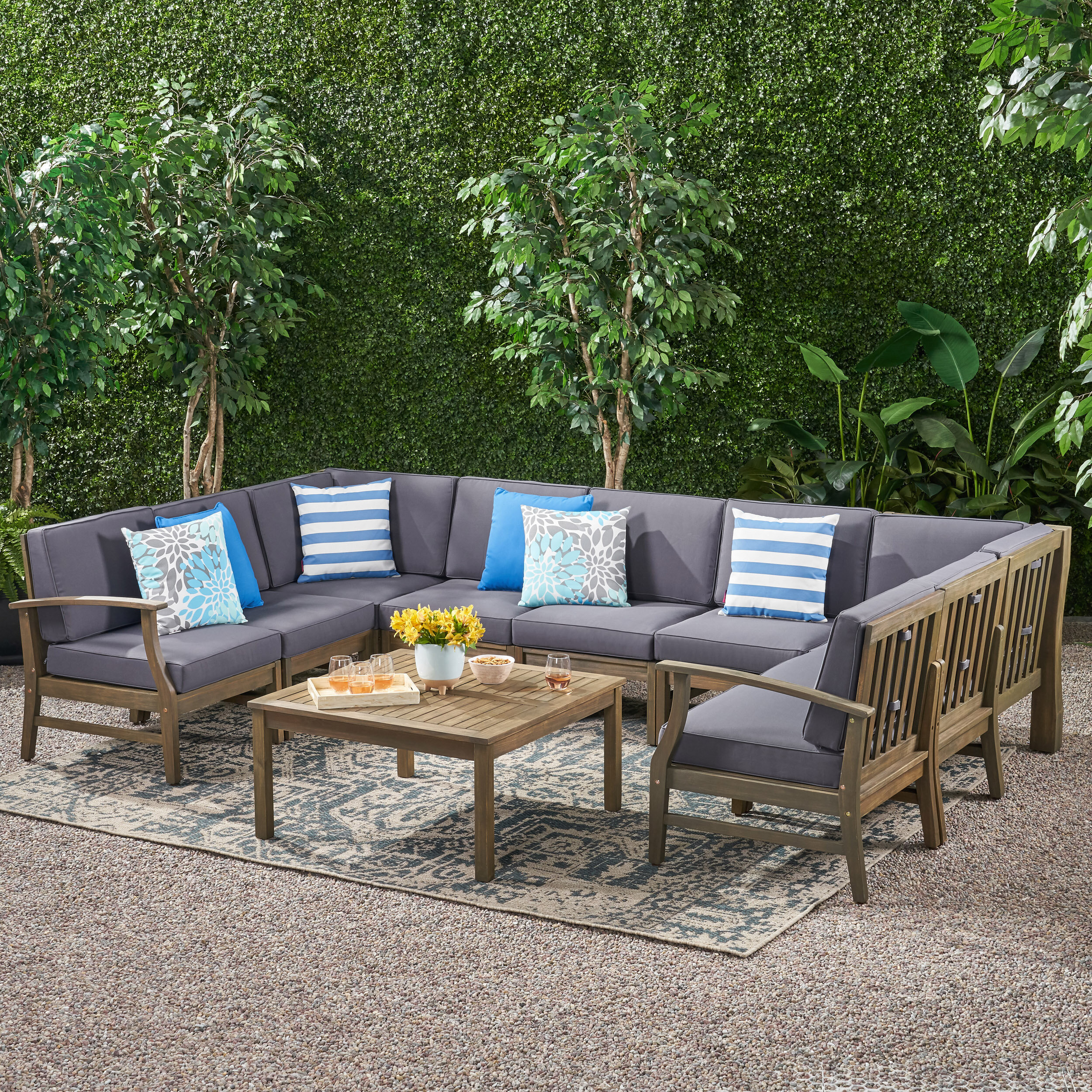 Foundry Select Gianni Outdoor 10 Piece Sectional Seating Group With Cushions Wayfair