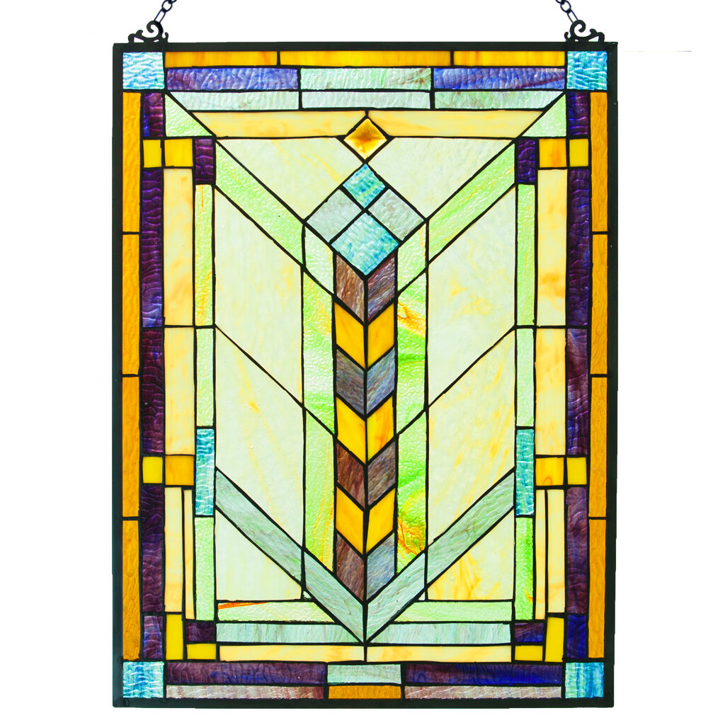 Fleur De Lis Living Stained Glass Geometric Window Panel & Reviews ...