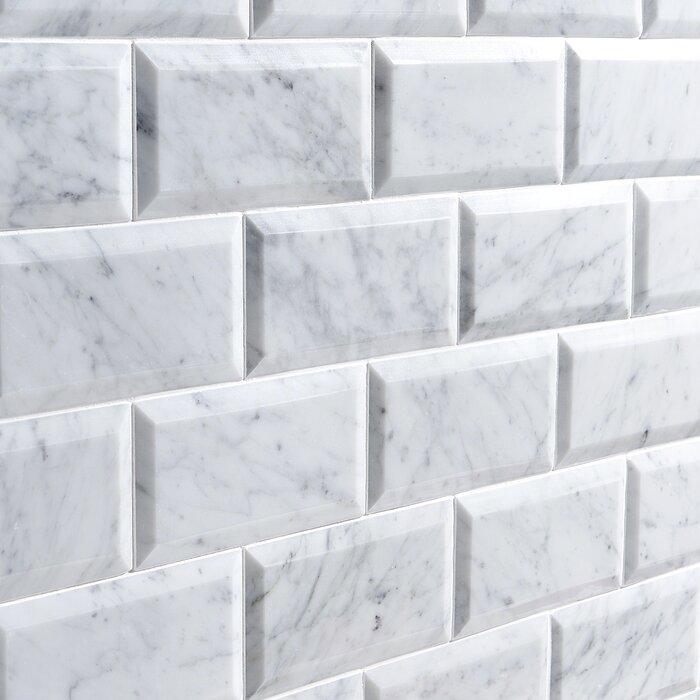 Carrara Beveled 3 X 6 Marble Subway Tile