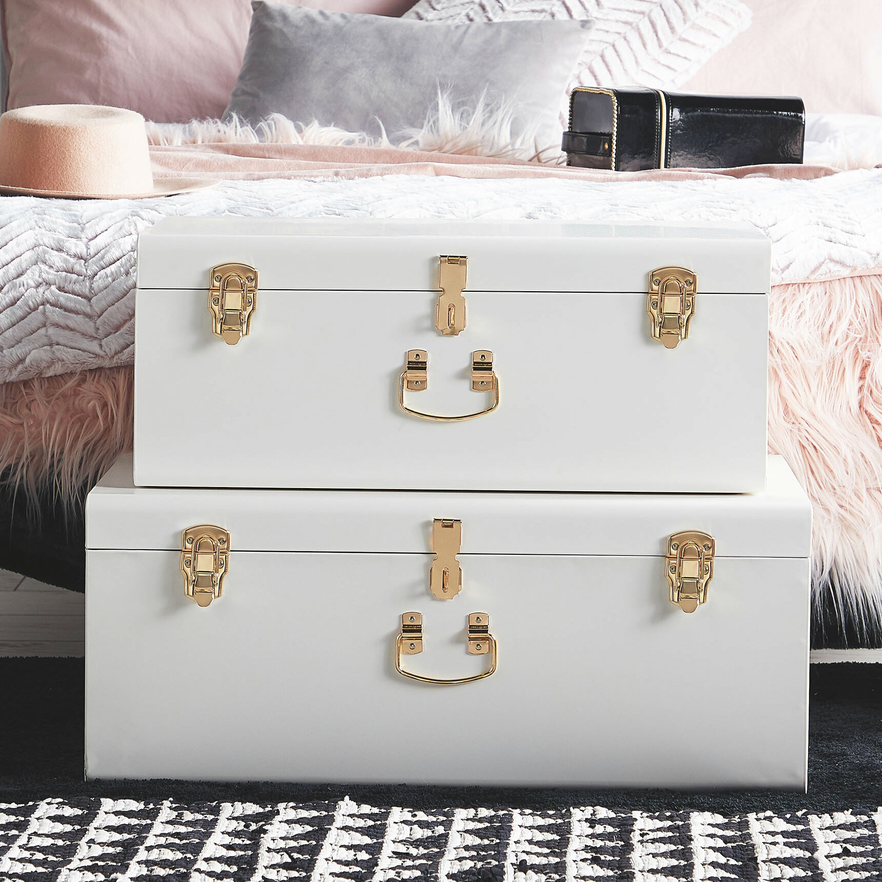 Dressing Room Stackable Vintage Suitcase Style for Bedroom Living Room Set of 3 Grey White and Blush with Gold Hardware Hallway Beautify Metal Storage Trunks