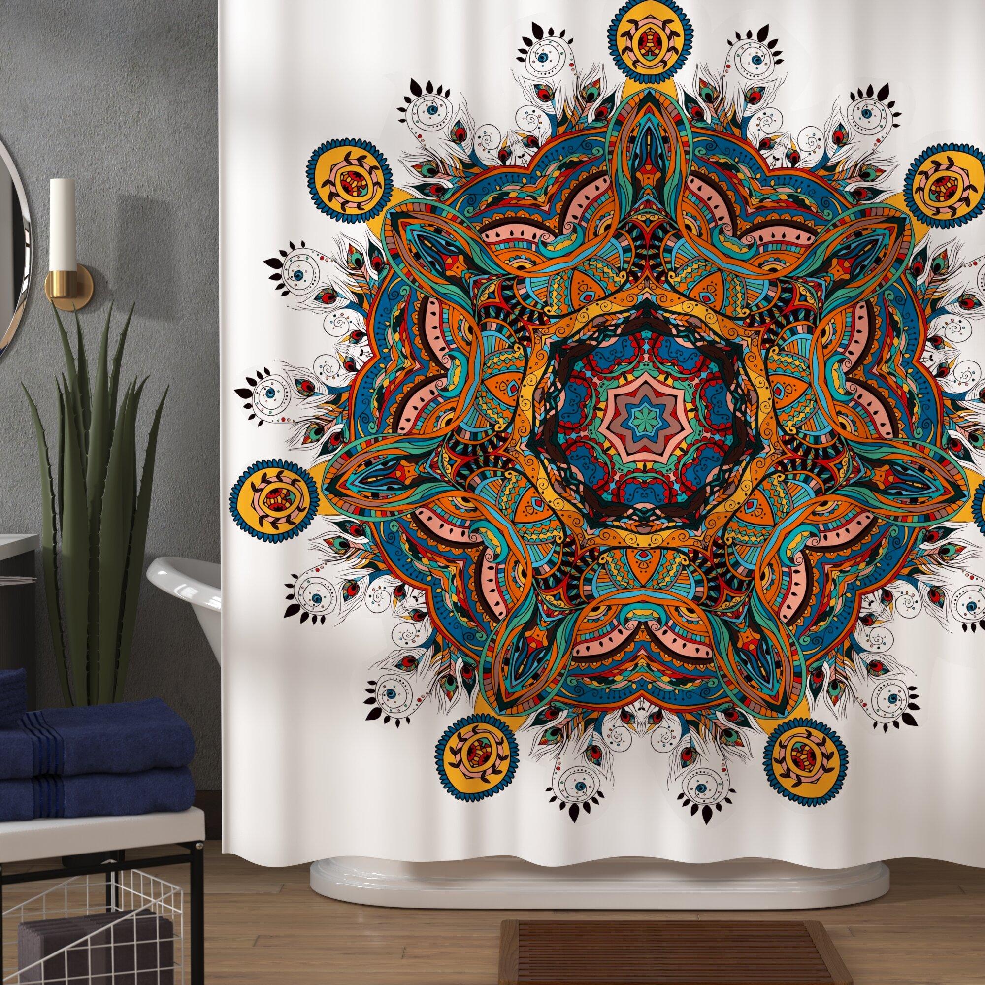 Ethnic Shower Curtain Asian Mandala Zen Boho Print for Bathroom