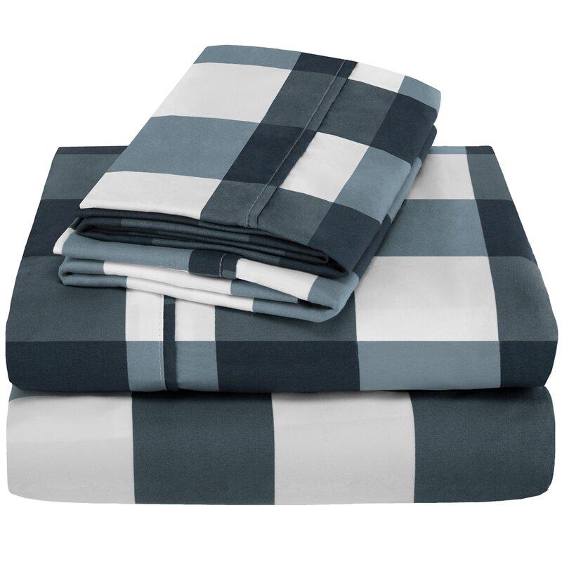 Bare Home Ivy Union Plaid Check 100 Cotton Sheet Set Reviews Wayfair