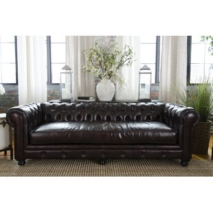 Darby Home Co Fiske Leather Chesterfield Sofa