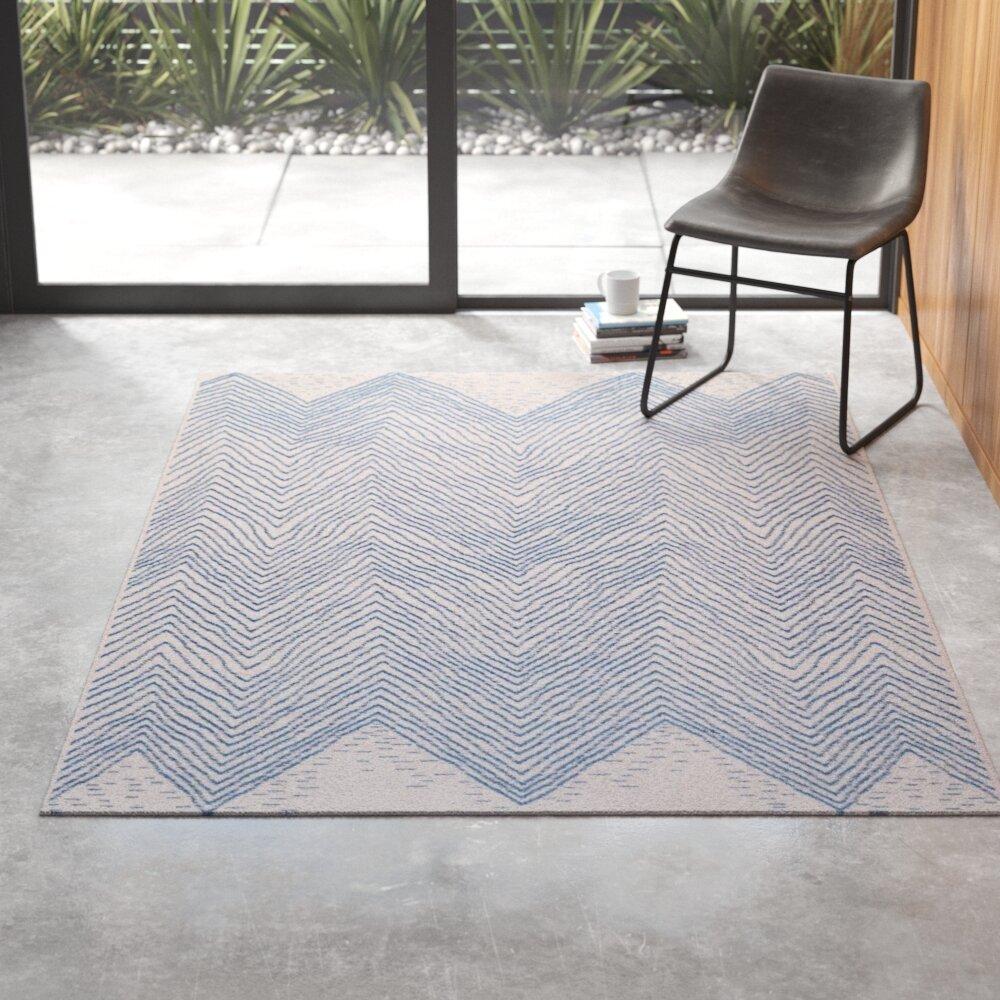 Zoey Chevron Polypropylene Blue Off White Indoor Outdoor Use Area Rug Reviews Allmodern