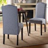 Bolderberg Linen Upholstered Parsons Chair in Blue (Set of 2) by Red Barrel Studio®