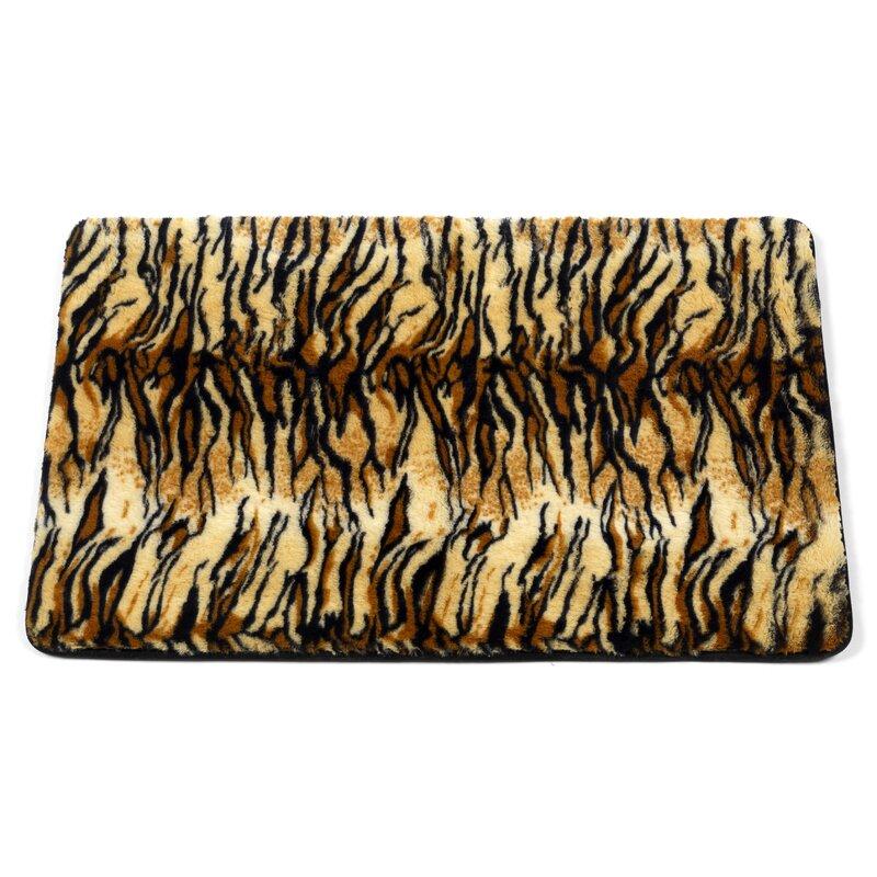 Shadai Tiger Faux Fur Rectangle Non-Slip Animal Print Bath Rug