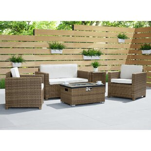 Broderick 4 Piece Rattan Sofa Seating Group with Cushions