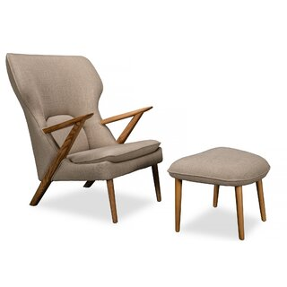 Broome Modern Lounge Chair & Ottoman, Urban Hemp Vintage Twill by Corrigan Studio