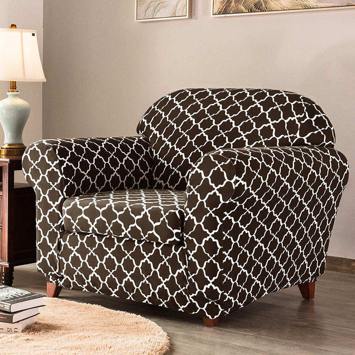 Printed Box Cushion Armchair Slipcover