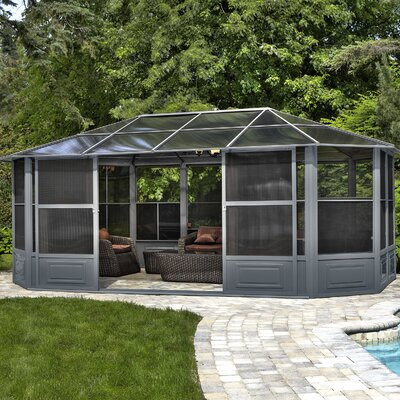 Gazebo Penguin Solarium 18 Ft. W x 12 Ft. D Aluminum Patio Gazebo Frame Finish: Grey