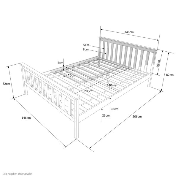 Tanya European Double Bed Frame