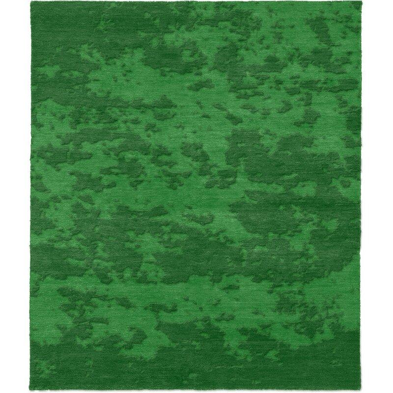 Brayden Studio One Of A Kind Raguel Hand Knotted Green 6 X 9 Wool Area Rug Wayfair