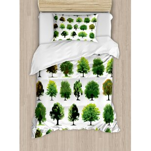 East Urban Home Mother Nature Gift Different Types of Trees and Pines Planes Bushes Art Print Duvet Set