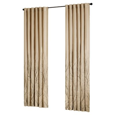 August Grove Gladeview Nature/Floral Room Darkening Rod Pocket Single Curtain Panel Size per Panel: 50 W x 95 L, Color: Tan